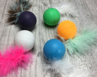 Cat toys | Rattle balls with marabou feather tail cat toss toy | Cat rattle toys | Cat toy Pack | Ball and feathers cat toys