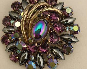D&E JULIANA AB Coated chaton and Hematite And Metal Accents Brooch