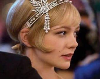 Great Gatsby Headband, Art Deco Headband, Art Nouveau Headband, Flapper 1920s Headband, Downton Abbey Headband, Bridal Flapper Headband