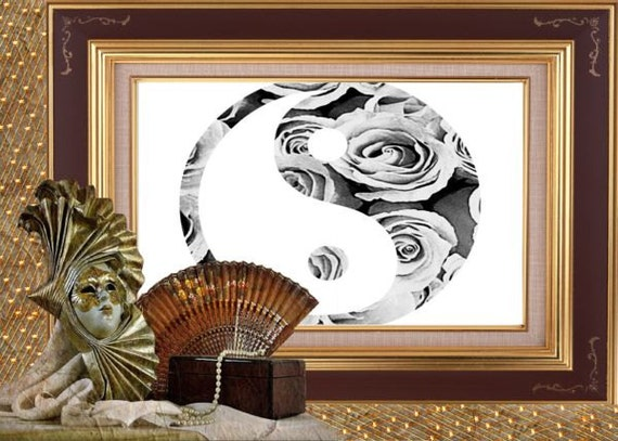 Yin yang wall decor yin yang art print black white wall for Decoration murale yin yang