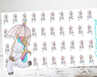 LuLu the Unicorn // Planner Stickers // Unicorn Planner Stickers // Rain Day // Weather