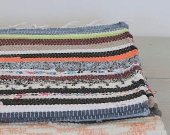 SMALL Striped Woven Rag Rug, Handwoven Carpet, Handwoven Rug, Throw Rug,  Boho