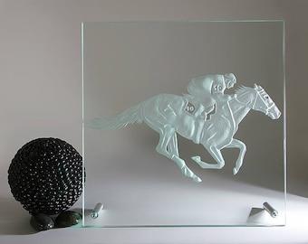 Horse Race Horce handmade engraving modern glass box