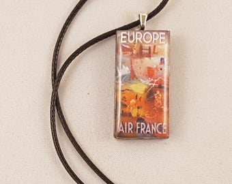 Vintage Europe Air France Travel Poster domino resin pendant