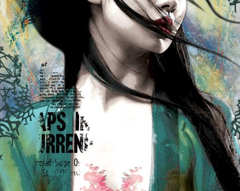 Pop art poster, green, yellow, black, pink, Japanese Geisha, digital print on white cardboard 260gr