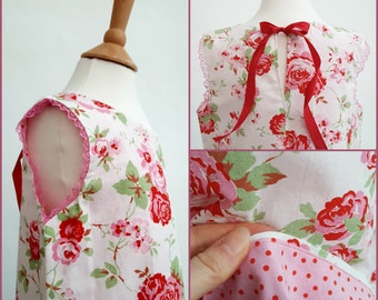 Girls Dress Red Floral Pretty Summer Handmade Fully Lined Cotton Fabric Children's Clothing Rose Print Party Dress Lace Trim Ribbon Tie