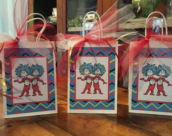 Dr Seuss Inspired Cat in the Hat Party Favor Bags