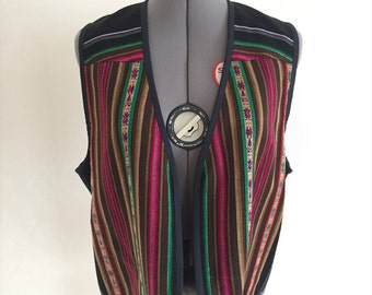 Womens Vintage Spanish Mexican Bright Colored Vest 1980s