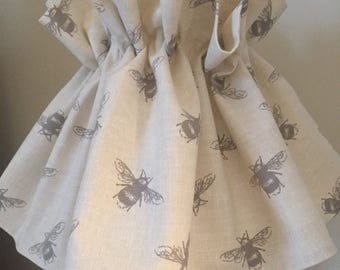 BUSY BEE linen ruffle - loose lampshade. country interior design.