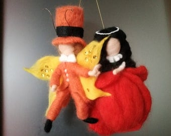 Needle felt doll and boy - Poppy doll and butterfly Emanuel
