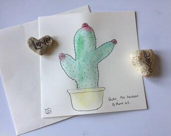 Cute Cactus watercolour card // Unique Watercolour Card // Birthday Card // Anniversary Card // Valentine's Card // Wedding Card // Easter