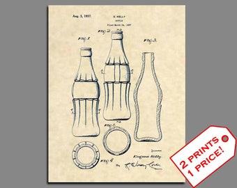 Patent Prints - Coca Cola Bottle D Patent Print - Vintage Coke Bottle Wall Art Coca Cola Bottle - Antique Coca Cola Patent Poster- 150