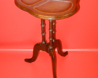 Solid mahogany plant stand table with leather inserts gold trim vintage piece telephone stand