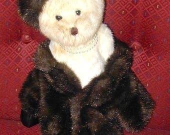 Female Teddy Bear well dressed fur coal pearl necklace formal dress vintage original