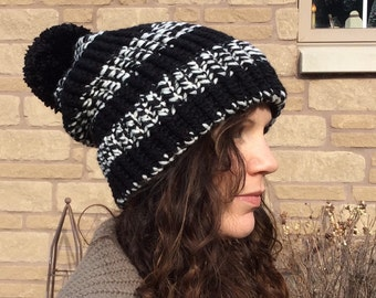 Slouch Hat Black with White