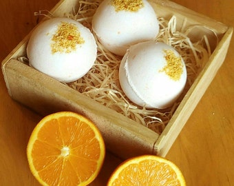 Orange Bath Bomb/Natural/Handmade/ Rustic / Fizzy Bath Bomb/Homemade Bath Bomb