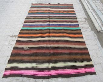 5.1x8.8 Ft Colorful striped vintage handwoven Turkish kilim rug