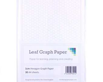 A4 Graph Paper Pack, 1cm 10mm Hexagon, 30 Loose-Leaf Sheets, Grey Grid Lines