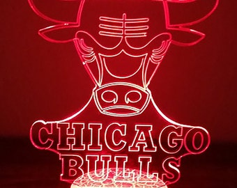 Chicago Bulls 3D Night Lamp, 3D Night Light Children Light Home Decor Illusion light