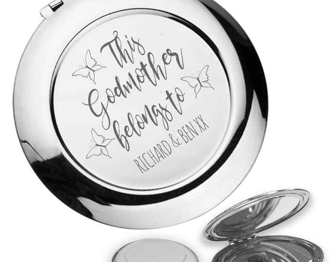 Personalised engraved This GODMOTHER belongs to compact mirror gift idea, handbag mirror - FM5