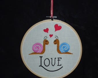 Handmade Love Snails Embroidery Hoop Wall Art