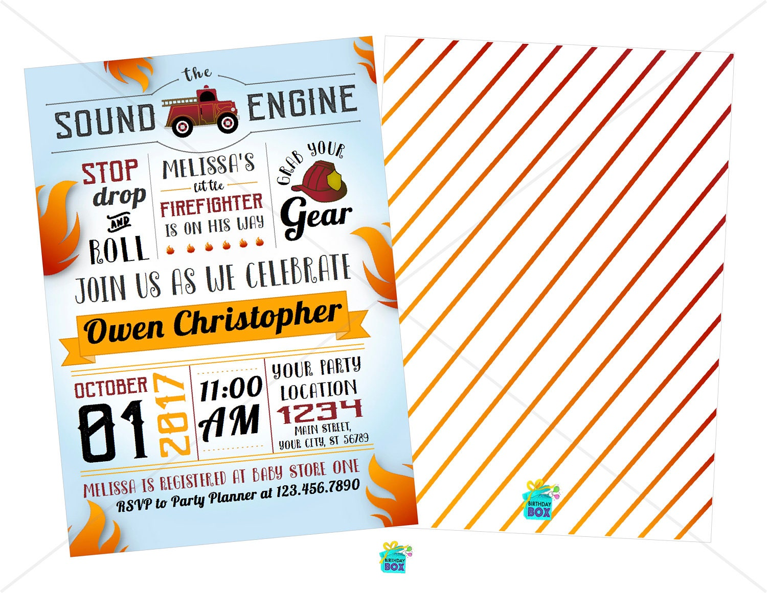 Firefighter Baby Shower Invitation - Digital Download ...