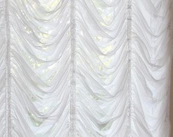 Austrian Roman Balloon White Tulle Lace Curtain Shabby Chic French  Victorian Curtain Shade