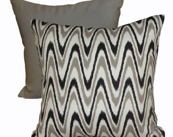 Black, White & Taupey-Grey Print Pillow Covers / Decorative Pillows / Throw Pillow Covers / Indoor Outdoor Pillows / Custom Sizes Available
