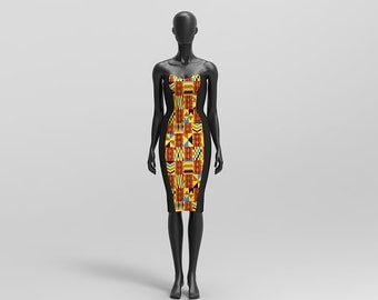Custom Made African Print and Kente Print Strapless Bridesmaid Dresses/ Prom/Occasionwear