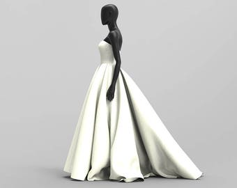 Custom Sweetheart Neckline Ball Gown using Bridal Satin ( Prom/Wedding/Red Carpet )