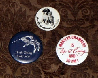 Vintage Pin Back Buttons,Lot of 3/Marilyn Chambers/Think Love/Friends of Animals