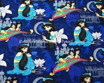 gz9201 - 1 Yard SDLP Cotton Woven Fabric - Cartoon Characters, Princess Jasmine, Aladdin Carpet - Navy Blue (W140)