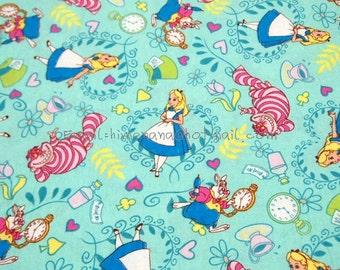al013 - 1 Yard Cotton Micro Sanding Fabric - Disney Cartoon Characters, Alice in Wonderland - Mint Green (W130)