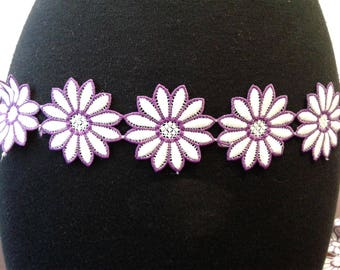 Purple & White Flower trim