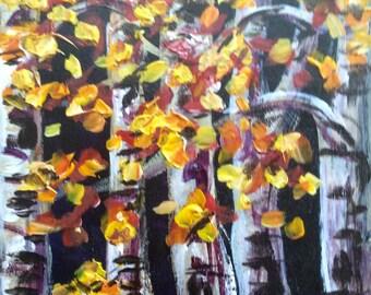 "Birches Trees Landscape Aspen Trees Painting Original Painting 6 x 6"""