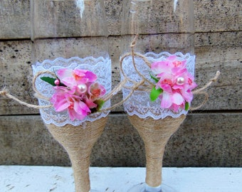 Wedding Toasting Glasses Rustic Toasting Flutes Wedding Champagne Flutes Bride Groom Wedding Glasses Rustic Wedding Glasses