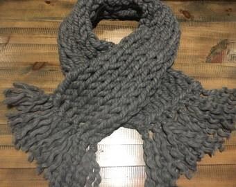 Alpaca Wool Chunky Charcoal Scarf