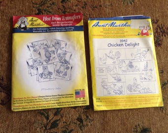 2 packets of hot iron transfers: owls and chickens