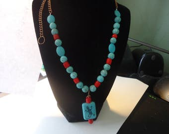 Turquoise beaded necklace with earrings& copper chain