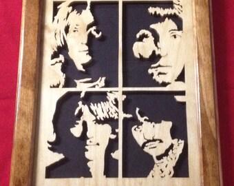 The Beatles Wooden Portrait