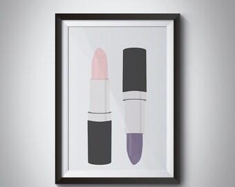 Lipstick print, Makeup Print, Beauty Print, Makeup illustration, Makeup Art, Lipstick Poster, Beauty Poster, fashion print, room decor