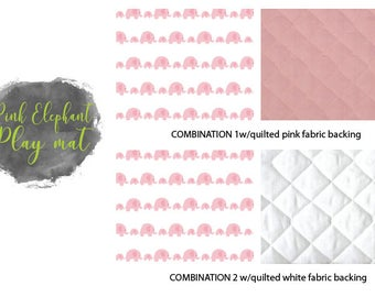 Elephant pink playmat, quilt, baby elephant blanket, elephant playmat, baby blanket, baby girl elephant blanket