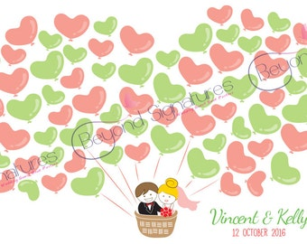 Hot Air Balloon Wedding Guestbook Alternative, Custom Digital Poster