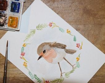 Watercolor Robin