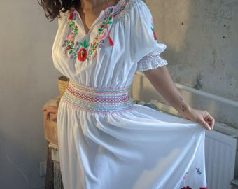 White Peasant Maxidress with Colorful Detailing and Flower Embroidery