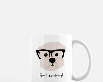 Personalized Shih Tzu with Glasses Mug, Shih Tzu Coffee Mug, Good Morning Mug, Shih Tzu Good Morning Mug, Shih Tzu Mug