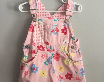 Rachel's Kids Girls Pink Floral and Gingham Shortalls 4T