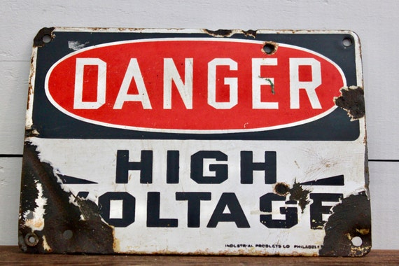 Vintage Advertising sign /Danger High Voltage Sign / Vintage Sign / Red Black and White Sign