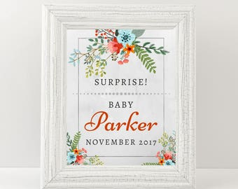 Surprise - Custom party sign - Party decor printable- Size options 5x7, 8x10, 16x20, 18x24.