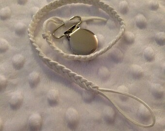 WHITE Braided Suede Dummy Clip